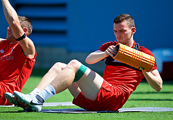CHARLOTTE, USA - Saturday, July 21, 2018: Liverpool's Andy Robertson during a training session at the Bank of America Stadium ahead of a preseason International Champions Cup match between Borussia Dortmund and Liverpool FC. (Pic by David Rawcliffe/Propaganda)