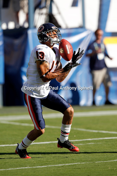 Chicago Bears wide receiver Johnny Knox (13) catches a pass during pregame warmups during a NFL week 1 preseason football game against the San Diego Chargers, Saturday, August 14, 2010 in San Diego, California. The Chargers won the game 25-10. (©Paul Anthony Spinelli)