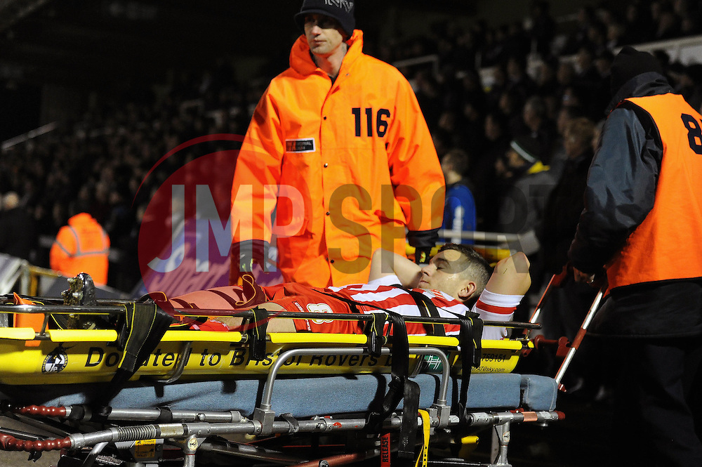 Steven Schumacher of Stevenage goes off injured - Mandatory byline: Dougie Allward/JMP - 24/11/2015 - FOOTBALL - Memorial Stadium - Bristol, England - Bristol Rovers v Stevenage - Sky Bet League Two