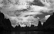 Hill formations at Li River 437km or 271 miles (Yangshuo, China).