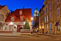 """Blue hour on Restaurant """"aux anciens canadiens"""", rue Saint-Louis, Québec city, Canada<br /> Heure bleue au restaurant """"aux anciens canadiens, rue Saint-Louis, ville de Québec, Canada"""