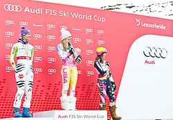 18.03.2011, Pista Silvano Beltrametti, Lenzerheide, SUI, FIS Ski Worldcup, Finale, Lenzerheide, Podium, im Bild Maria Riesch (GER). Lindsey Vonn (USA). Julia Mancuso (USA). // during Overall Podium, at Pista Silvano Beltrametti, in Lenzerheide, Switzerland, 18/03/2011, EXPA Pictures © 2011, PhotoCredit: EXPA/ J. Feichter