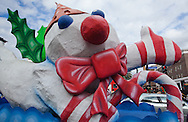 """December 3, 2011,  Mr. Bingle snowman float in the New Orleans' official holiday parade, hosted by the """"Krewe of Jingle,"""" on Canal Street kicking off holiday celebrations. New Orleans tourist industry is showcasing New Orleans as a Christmas travel destination."""
