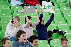 Fans of Olimpija during basketball match between KK Union  Olimpija and and KK KRKA Novo Mesto in 20th Round of ABA League, on February 11, 2012, in Arena Stozice, Slovenia. (Photo by Matic Klansek Velej / Sportida)