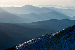 A winter view to the southeast from Lion Head on Mount Washington in New Hampshire USA