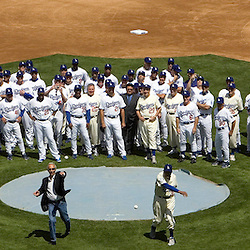 Dodger greats Carl Erskine, Left, Sandy Koufax, Center, and Don Newcombe threw out the first pitch with over forty former Dodgers looking on during Opening day festivities before a baseball game between the San Francisco Giants and Los Angeles Dodgers March 31. 2008 at Dodger Stadium in Los Angeles.  (SGVN/Staff Photo Keith Birmingham/SXSports)