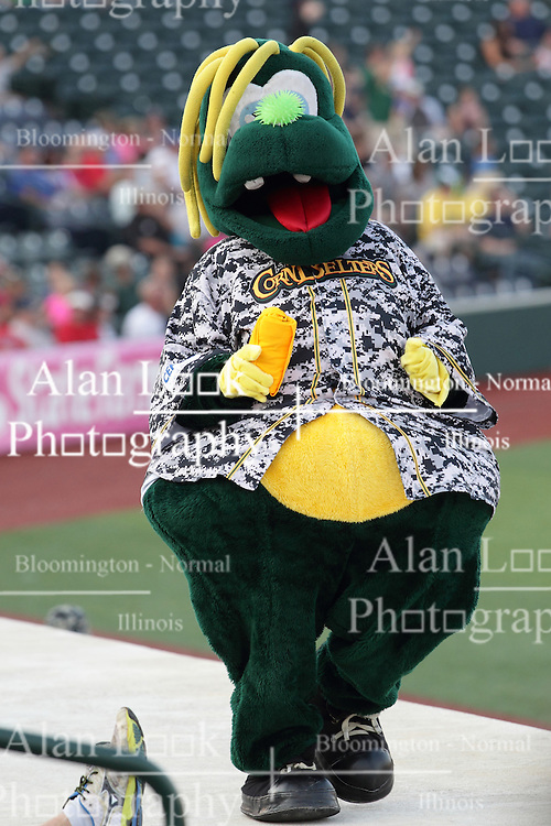 14 August 2015:  Mascot Corny during a Frontier League Baseball game between the Washington Wild Things and the Normal CornBelters at Corn Crib Stadium on the campus of Heartland Community College in Normal Illinois
