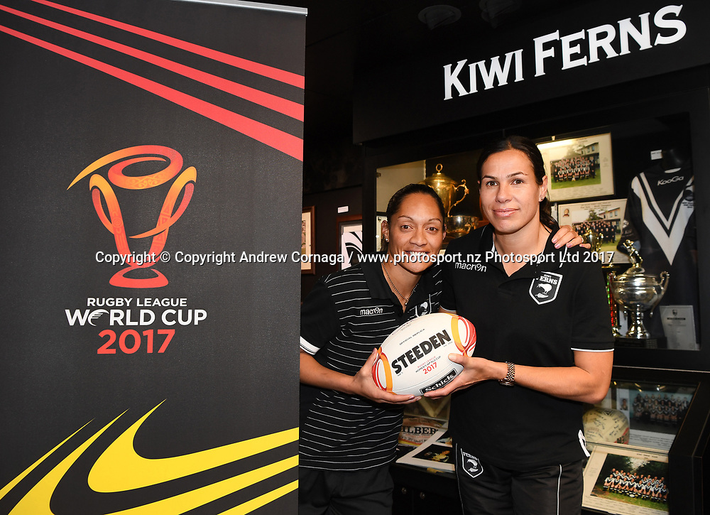 Kiwi Ferns captain Sarina Fiso (L) and teammate Sharlene Atai promoting the Women's Rugby League World Cup. Auckland, New Zealand. Wednesday 2 August 2017. © COPYRIGHT PHOTO: ANDREW CORNAGA / WWW.PHOTOSPORT.NZ