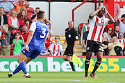 Brentford midfielder Josh Clarke (20)  missing chance during the EFL Sky Bet Championship match between Brentford and Ipswich Town at Griffin Park, London, England on 13 August 2016. Photo by Matthew Redman.