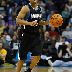 February 7, 2011; New Orleans, LA, USA; Minnesota Timberwolves point guard Sebastian Telfair (3) against the New Orleans Hornets during the fourth quarter at the New Orleans Arena. The Timberwolves defeated the Hornets 104-92.  Mandatory Credit: Derick E. Hingle