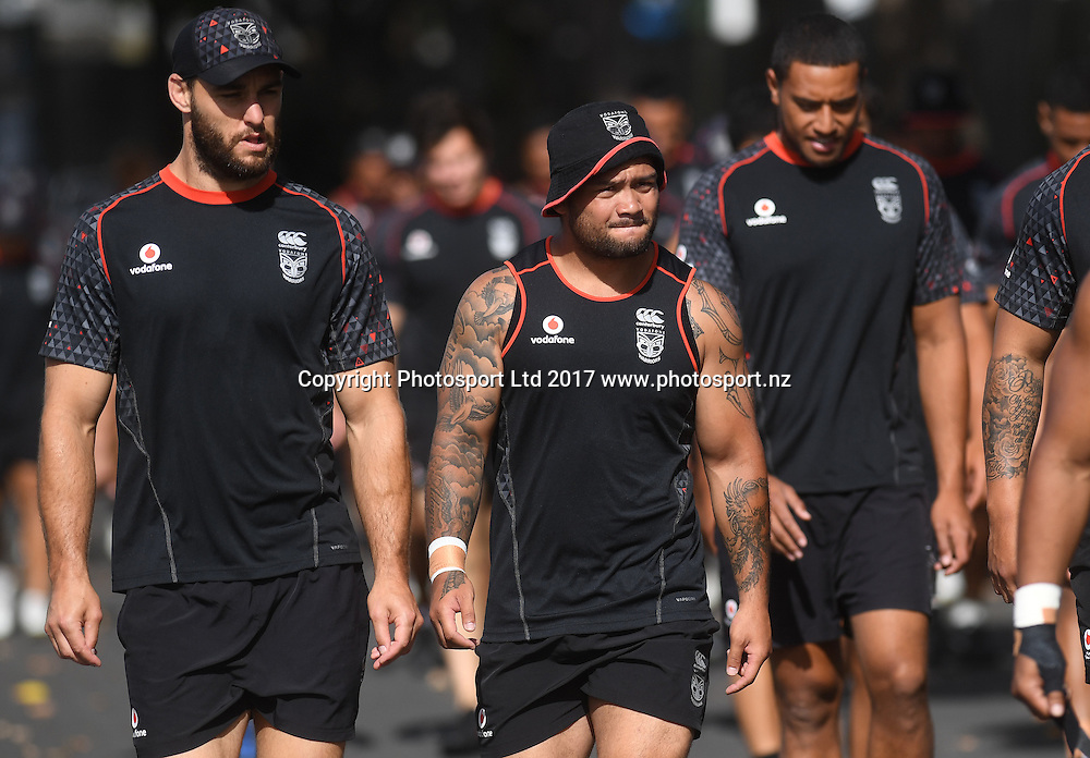 Simon Mannering and Issac Luke arrive for a Vodafone Warriors training and media session at Mt Smart Stadium, Auckland, New Zealand. NRL Rugby League. Monday 16 January 2017 © Copyright photo: Andrew Cornaga / www.photosport.nz