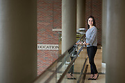 Ohio University student and Family and Consumer Sciences major, Jenna Shatrich, poses in the newly renovated Patton School of Education's McCracken Hall on February 14, 2017.