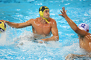 Australian captain Thomas Whalan looks to score in the Australia v Montenegro match at the ..Yingdong Natatorium of National Olympic Sports Center 18-8-08   ..Photo: Grant Treeby/WSP