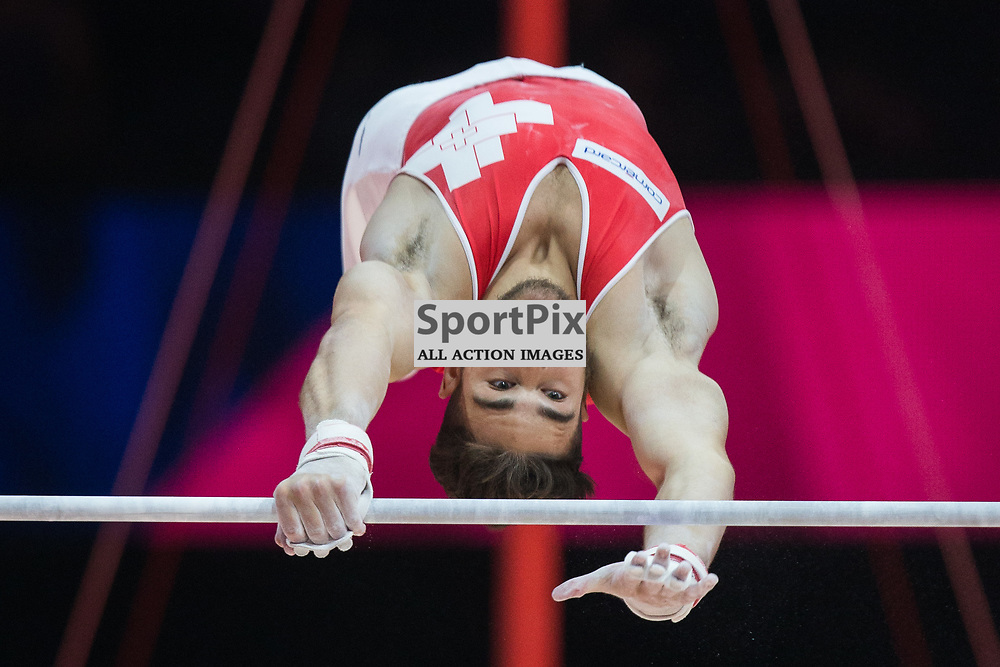 Taha Serhani of Switzerland competes in the Gymnastics Team Men Qualification - 2018 European Championships Glasgow, 9 August 2018. (c) Adam Oliver | sportPix.org.uk