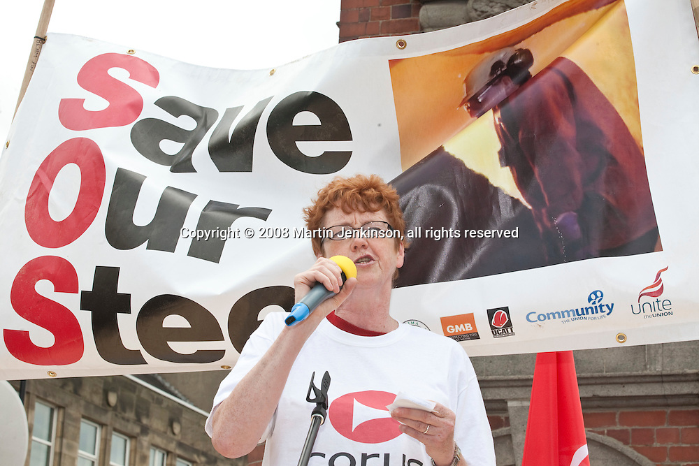 Vera Baird MP speaking at Corus Save Our Steel March Redcar..© Martin Jenkinson, tel 0114 258 6808 mobile 07831 189363 email martin@pressphotos.co.uk. Copyright Designs & Patents Act 1988, moral rights asserted credit required. No part of this photo to be stored, reproduced, manipulated or transmitted to third parties by any means without prior written permission
