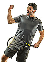one caucasian mature tennis player man happy winner strong powerful  in studio isolated on white background