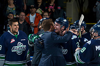 KELOWNA, CANADA - APRIL 30: The Seattle Thunderbirds celebrate the game 6 series win and western conference title against the Kelowna Rockets on April 30, 2017 at Prospera Place in Kelowna, British Columbia, Canada.  (Photo by Marissa Baecker/Shoot the Breeze)  *** Local Caption ***