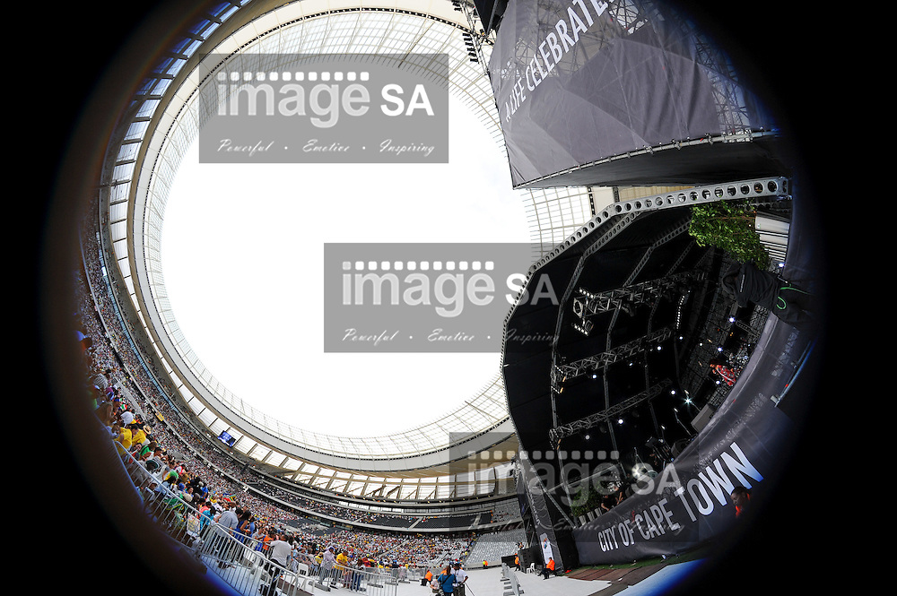 "An 8mm fish eye view of the stadium during the City of Cape Town hosted concert at the 45000 seater Cape Town Stadium called ""Nelson Mandela - A life Celebrated"". Nelson Mandela was the first democratically elected president of South Africa."