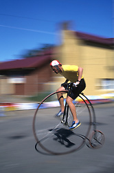 Australia, Tasmania, Evandale. Penny Farthing (old fashioned bicycle) annual international race held in February.