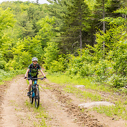 A woman mountain biking on a logging road in the new Bethel Community Forest in Bethel, Maine.