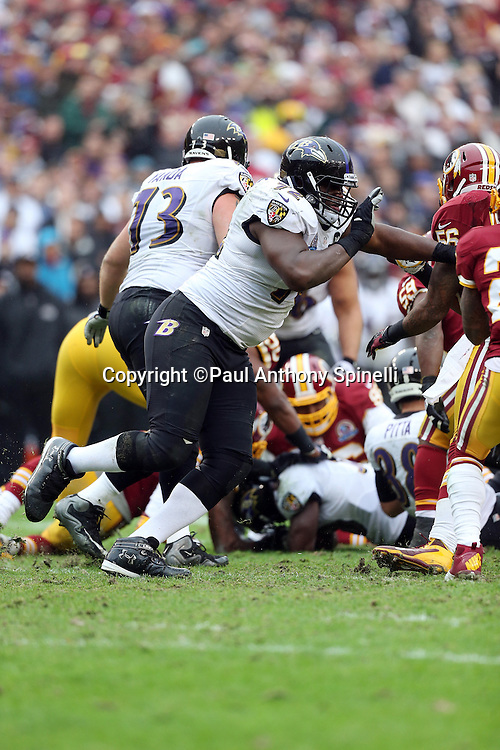 Baltimore Ravens offensive tackle Kelechi Osemele (72) blocks during the NFL week 14 football game against the Washington Redskins on Sunday, Dec. 9, 2012 in Landover, Md. The Redskins won the game in overtime 31-28. ©Paul Anthony Spinelli