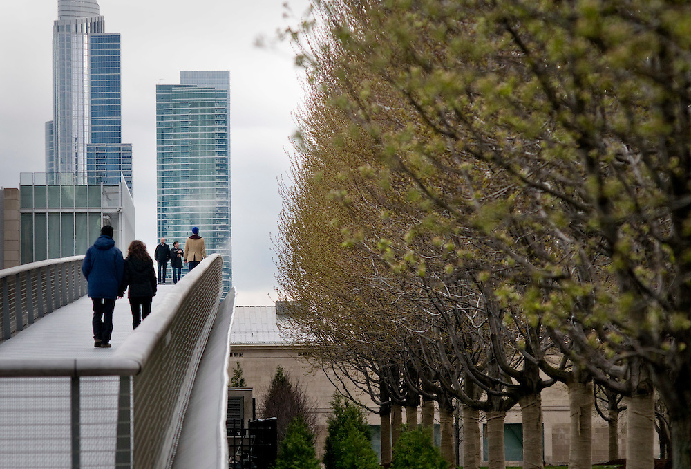 Pedestrian bridge leading to the Art Institute of Chicago in Millenium Park.<br />  <br /> Millennium Park is one of the largest green roof projects in the world. The 24.5 acre public park was dedicated July 16, 2004, as part of Mayor Richard Daley's quest to &quot;green&quot; an industrial metropolis and develop cultural arts. <br /> <br /> What was once gravel and pavement is now artwork and green space with over 900 trees, shrubs, groundcovers, perennials, annuals and growing medium which absorbs and polishes storm water, cleans the air, reduces the urban heat island and provides multiple social, cultural and economic benefits.<br /> <br /> Green Chicago..Photographer: Chris Maluszynski /MOMENT<br /> <br /> Green Chicago..Photographer: Chris Maluszynski /MOMENT