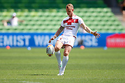 Gareth Widdop of England warms up during the Rugby League World Cup Quarter-Final match between England and  Papua New Guinea at Melbourne Rectangular Stadium, Melbourne, Australia on 19 November 2017. Photo by Mark  Witte.
