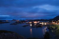 Fishing village on the Lofoten Islands Norway at night