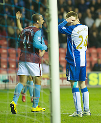 WIGAN, ENGLAND - Tuesday, March 16, 2010: Aston Villa's Gabriel Agbonlahor celebratesa after Wigan Athletic's James McCarthy scores an own goal during the Premiership match at the DW Stadium. (Photo by David Rawcliffe/Propaganda)