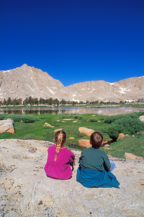 Kids in the Cottonwood Lakes Basin, John Muir Wilderness, Sierra Nevada Mountains, California