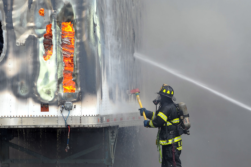 7/15/2011 Palmer Township, PA Dozen's of Firefighters from across the Lehigh Valley were need Friday for a large commercial fire at National Plastics on McFadden Road in Palmer Township, Northampton County. The large plume of thick black smoke that was generate by the fire could be seen from miles away. Express-Times Photo | CHRIS POST