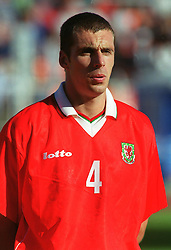 MINSK, BELARUS - Saturday, September 4, 1999: Wales' Andy Melville before the UEFA Euro 2000 Qualifying Group One match against Belarus at the Dinamo Stadium. (Mandatory credit: David Rawcliffe/Propaganda)