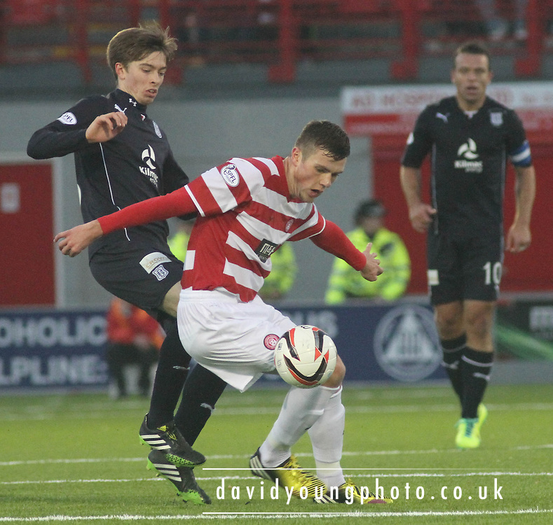Michael Devlin holds off Craig Wighton - Hamilton Academical v Dundee, SPFL Championship at New Douglas Park<br /> <br />  - &copy; David Young - www.davidyoungphoto.co.uk - email: davidyoungphoto@gmail.com