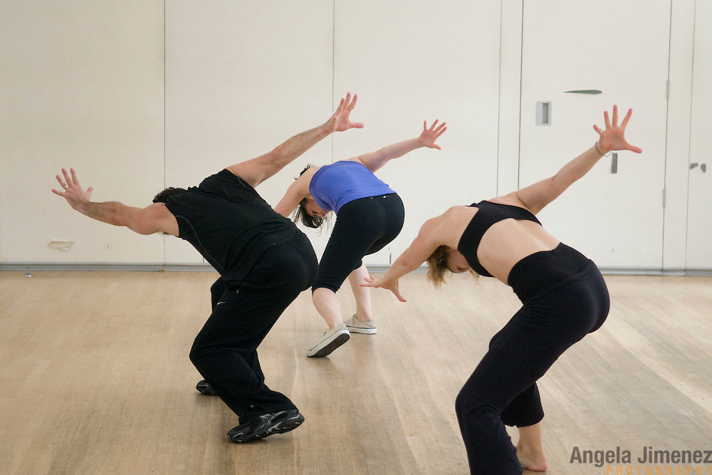 """20100805AJ #5/16..Dancer/choreographer Joshua Bergasse, left, rehearses his piece """"You're Nobody Till Somebody Loves You"""" with dancers Valerie Salgado, center, and Shiloh Goodin, right, at DANY (Dance Art New York) Studios in New York City on August 5, 2010 in preparation for  the upcoming ShoreDance event at the Algonquin Arts Theatre in Manasquan, New Jersey...photo by Angela Jimenez/ for The Star-Ledger ...."""