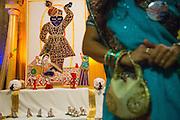 Hand crafted paintings depict the eight Darshans of Shreenathji during Diwali at the Shreemaya Krishnadham Temple in Milpitas, California, on November 10, 2013. (Stan Olszewski/SOSKIphoto)