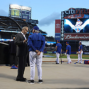 Fred Wilpon, (left), majority owner of the New York Mets, talking with Manager Terry Collins at batting practice before the New York Mets Vs Los Angeles Dodgers, game four of the NL Division Series at Citi Field, Queens, New York. USA. 13th October 2015. Photo Tim Clayton