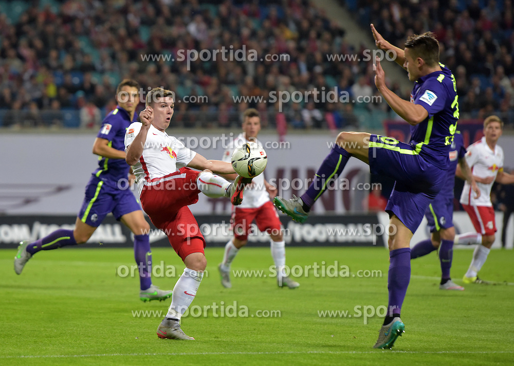 24.09.2015, Red Bull Arena, Leipzig, GER, 2. FBL, RB Leipzig vs SC Freiburg, 8. Runde, im Bild Marcel Sabitzer (RB) gegen Christian Guenter (SCF) // during the 2nd German Bundesliga 8th round match between RB Leipzig and SC Freiburg at the Red Bull Arena in Leipzig, Germany on 2015/09/24. EXPA Pictures &copy; 2015, PhotoCredit: EXPA/ Eibner-Pressefoto/ Ostpix<br /> <br /> *****ATTENTION - OUT of GER*****