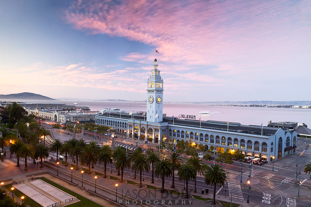 San Francisco Ferry Building on the Embarcadero at sunset.