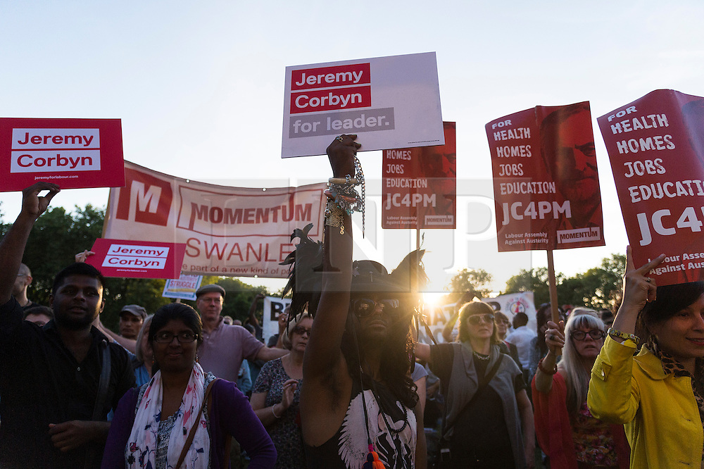 © Licensed to London News Pictures. 15/08/2016. Labour party supporters of JEREMY CORBYN attend a BAME( British. Black, Asian, and minority ethnic) rally in Highbury Fields, London, UK. Photo credit: Ray Tang/LNP
