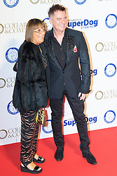 "Battersea, London, November 3rd 2016.  Celebrities and their dogs attend The Evolution at Battersea Park to attend The Battersea Dogs and Cats Home ""Collars and Coats Ball"". PICTURED: Hilary Alexander and Charles Worthington"