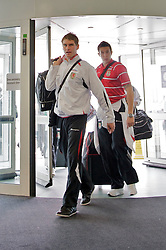 CARDIFF, WALES - Friday, September 5, 2008: Wales' Sam Vokes and Lewis Price arrive at Cardiff International Airport ahead of the second 2010 FIFA World Cup South Africa Qualifying Group 4 match against Russia. (Photo by David Rawcliffe/Propaganda)