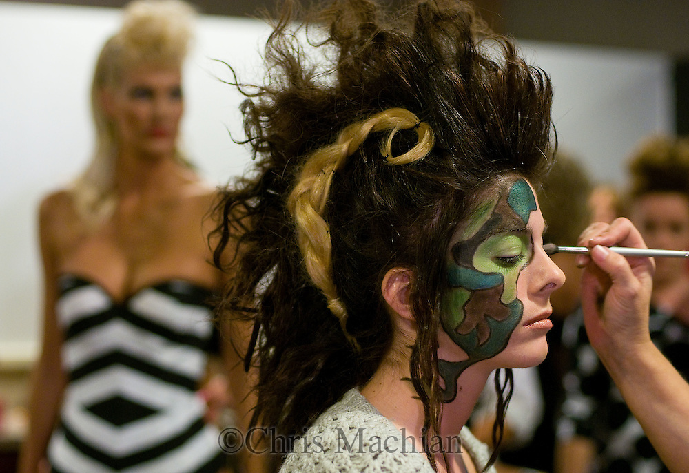 Omaha, NEB 9/19/09.A model gets hair and make-up done backstage...Chris Machian/The World-Herald