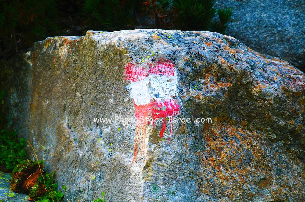 Hiking trail marked on a rock Austria, Zillertal High Alpine nature Park Hochgebirgs Naturpark near Ginzling, Tyrol