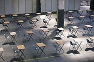 Banchi per i test di ammissione dell'Università di Torino allestiti al Lingotto con le misure anti-Covid. Torino, Italia - 1 Settembre 2020