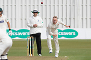 Matt Parkinson bowling during the Specsavers County Champ Div 2 match between Leicestershire County Cricket Club and Lancashire County Cricket Club at the Fischer County Ground, Grace Road, Leicester, United Kingdom on 23 September 2019.