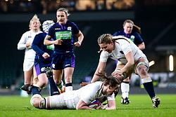 Sarah Beckett of England Women scores a try - Mandatory by-line: Robbie Stephenson/JMP - 16/03/2019 - RUGBY - Twickenham Stadium - London, England - England Women v Scotland Women - Women's Six Nations
