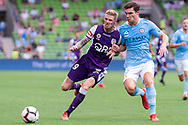 MELBOURNE, VIC - MARCH 03: Perth Glory forward Andrew Keogh (9) competes for the ball at the round 21 Hyundai A-League soccer match between Melbourne City FC and Perth Glory on March 03, 2019 at AAMI Park, VIC. (Photo by Speed Media/Icon Sportswire)
