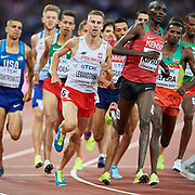 Great Britain, London - 2017 August 10: Marcin Lewandowski (CWZS Zawisza Bydgoszcz) of Poland competes in men&rsquo;s 1500 meters qualification during IAAF World Championships London 2017 Day 7 at London Stadium on August 10, 2017 in London, Great Britain.<br /> <br /> Mandatory credit:<br /> Photo by &copy; Adam Nurkiewicz<br /> <br /> Adam Nurkiewicz declares that he has no rights to the image of people at the photographs of his authorship.<br /> <br /> Picture also available in RAW (NEF) or TIFF format on special request.<br /> <br /> Any editorial, commercial or promotional use requires written permission from the author of image.