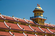 Architecture detail of a rooftop in Cao Dai Temple, Tay Ninh, Vietnam, Southeast Asia