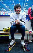 Park Se Yeong of South Korea waits for his start in the Men's 1000 Meters on day three of the 2013 ISU Short Track Speed Skating Junior World Championships at Torwar Ice Hall on February 24, 2013 in Warsaw, Poland...Poland, Warsaw, February 24, 2013...Picture also available in RAW (NEF) or TIFF format on special request...For editorial use only. Any commercial or promotional use requires permission...Photo by © Adam Nurkiewicz / Mediasport